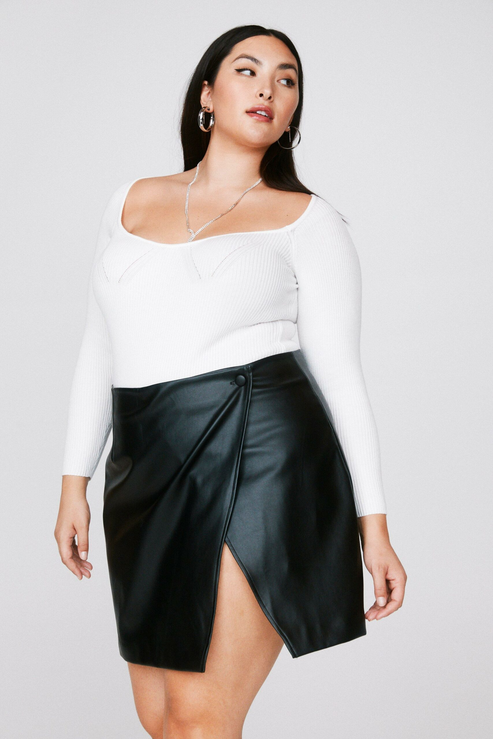 Emrata x Nasty Gal Take the Lead Faux Leather Plus Skirt