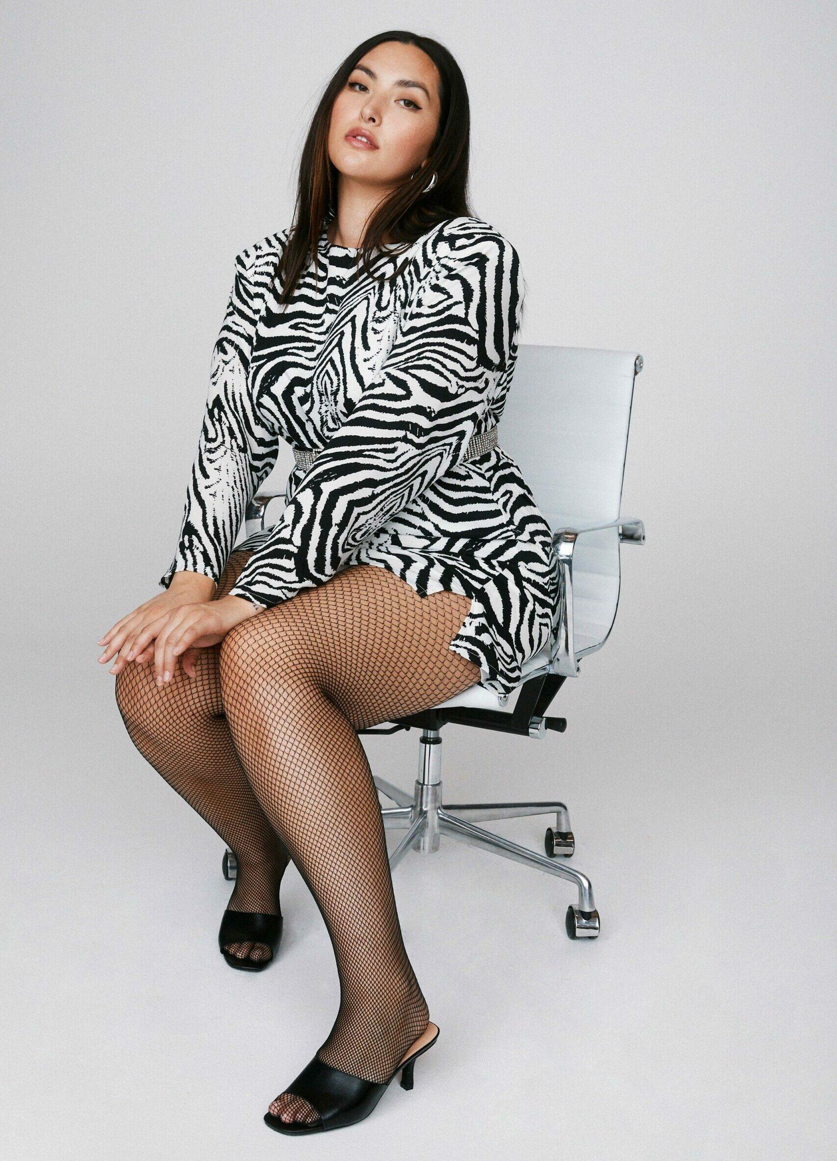 Emrata x Nasty Wild Streak Zebra Plus Dress
