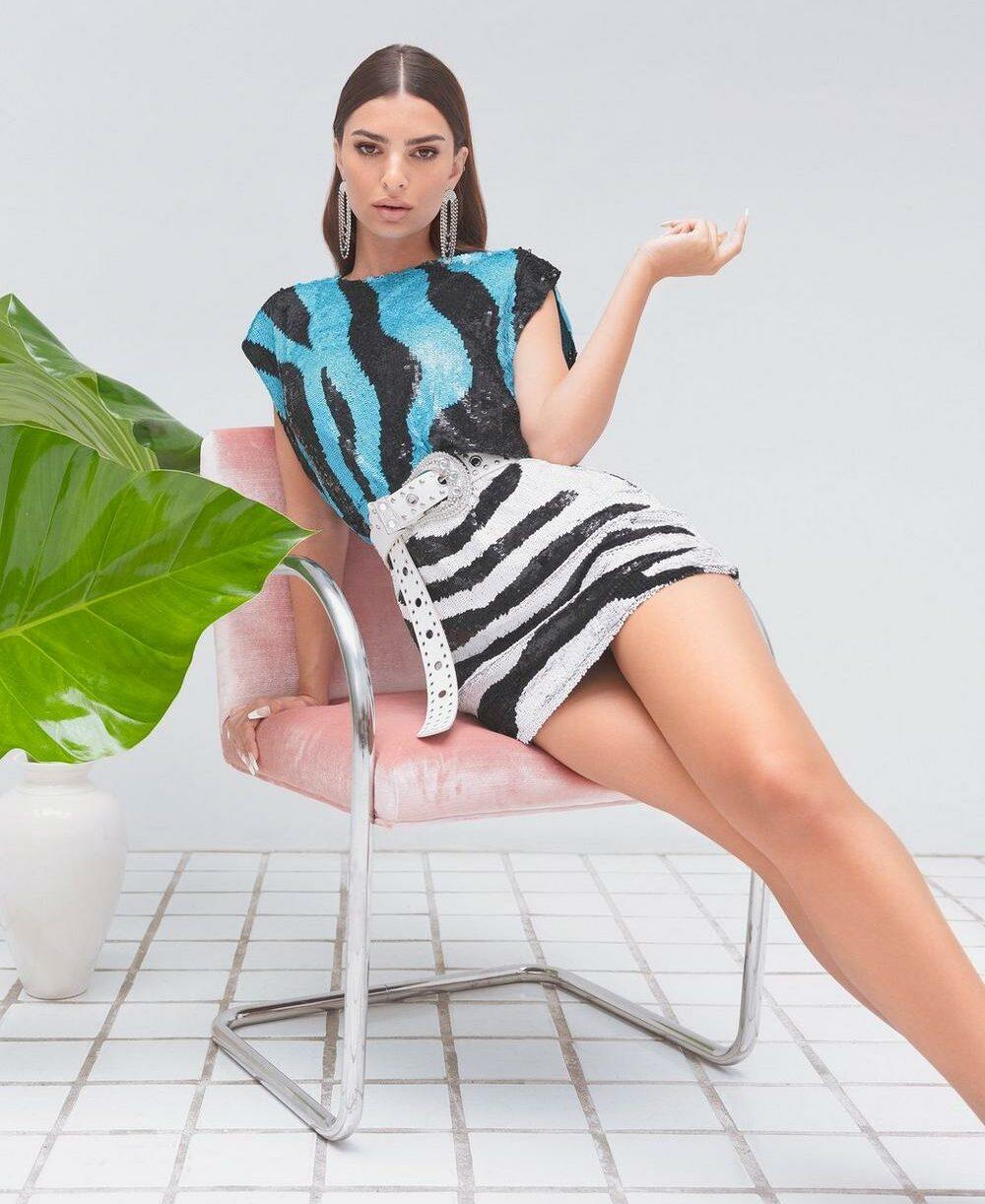 Nasty Gal x Emrata Sequin or Lose Zebra Mini Dress