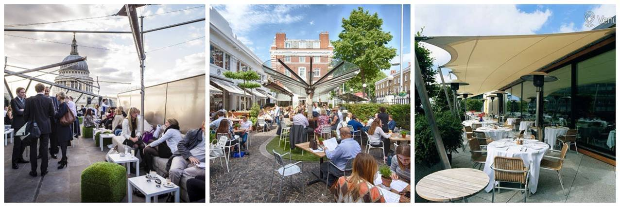 Outdoor dining from D&D London at Bluebird Chelsea, Madison and Coq d'Argent