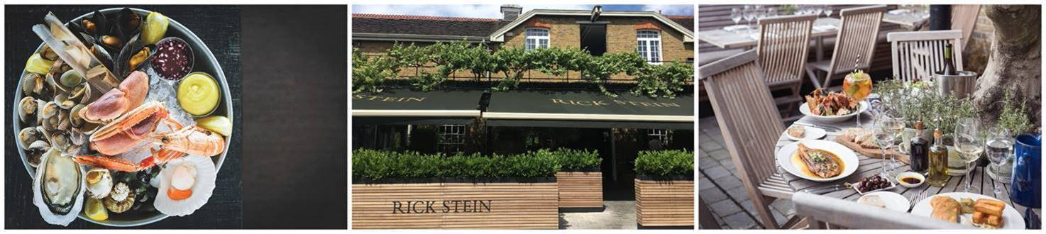 Seafood specialities and dinner with a view at Rick Stein, Barnes